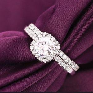 2 ps set engagement-wedding ring, sz 6 & 7